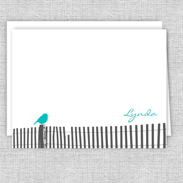 Bird on a Fence Personalized Note Card