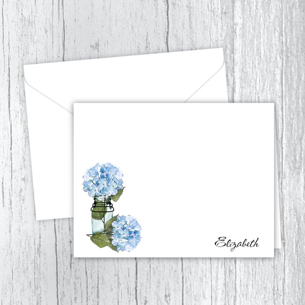 Blue Hydrangeas Personalized Note Cards