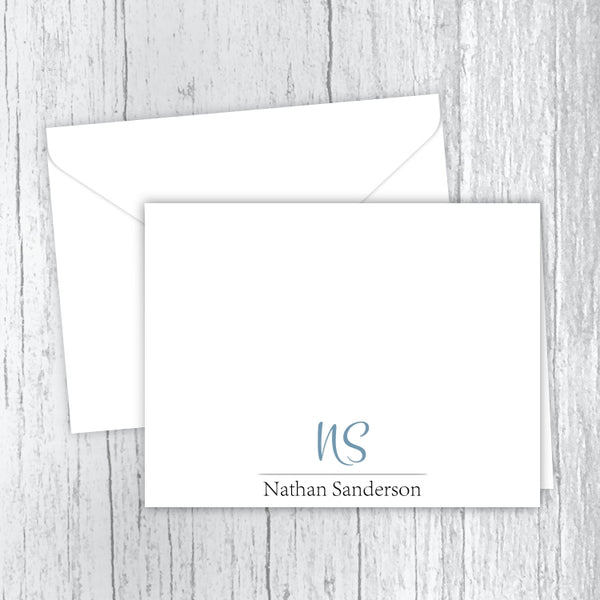 Men's Personalized Note Cards - Blue Initials with Name