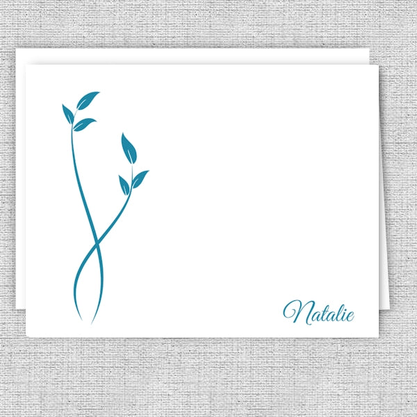Simple Blue Leaves - Printed Personalized Note Cards