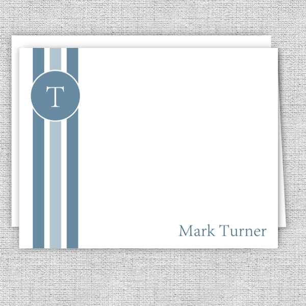 Men's Personalized Note Cards - Blue Vertical Stripes