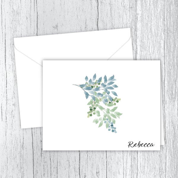 Blue & Green Foliage - Personalized Printed Note Cards