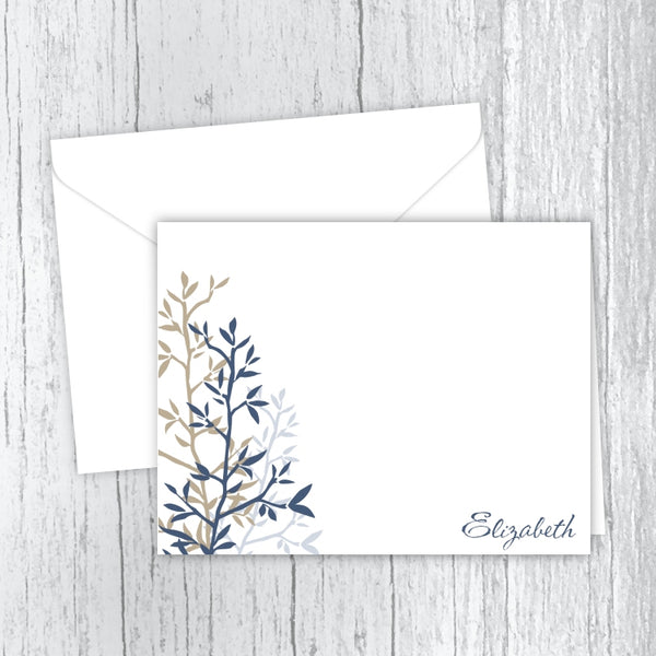 Blue & Tan Twigs - Personalized Printed Note Cards