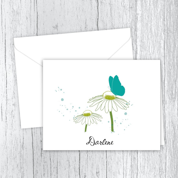 Butterfly Among the Daisies Printed Personalized Note Cards