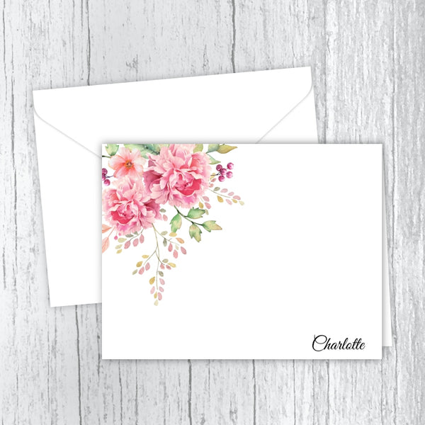 Pink Peonies - Personalized Printed Note Cards