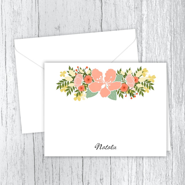 Country Flowers - Printed Personalized Note Cards