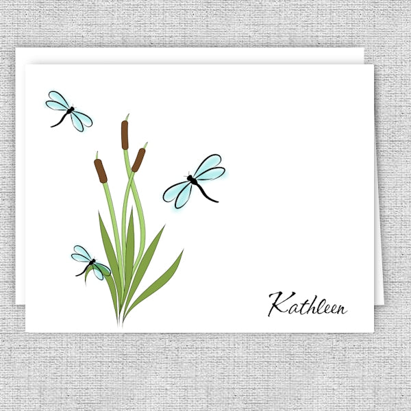 Dragonflies and Cattails Personalized Note Cards