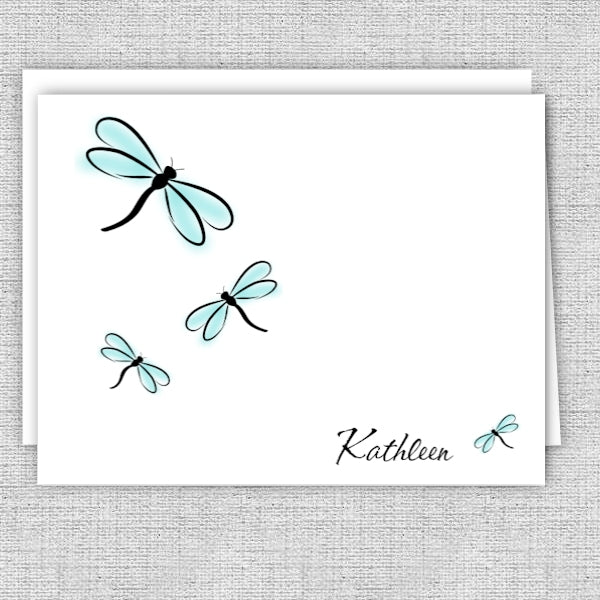 Dragonflies Personalized Note Cards