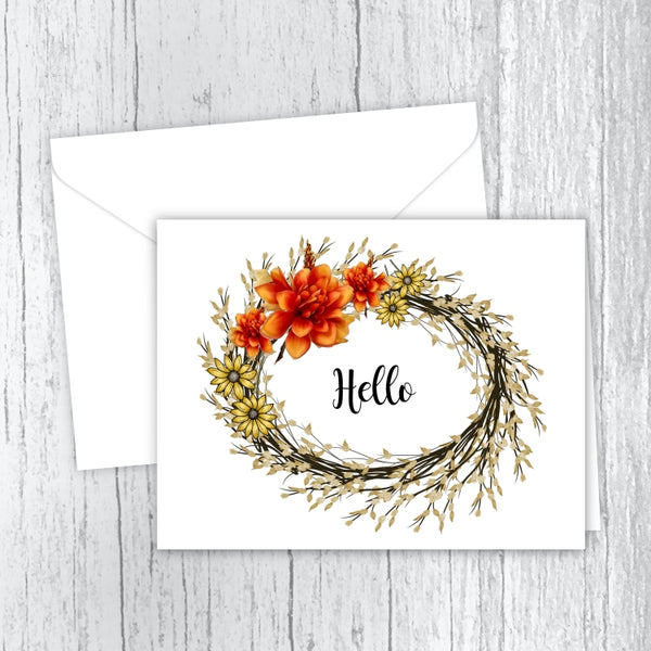 Autumn Wreath Hello Note Cards