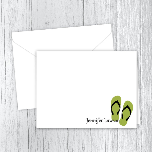 Flip Flops Personalized Printed Note Cards