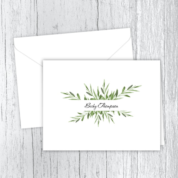 Green Leaves Personalized Note Cards