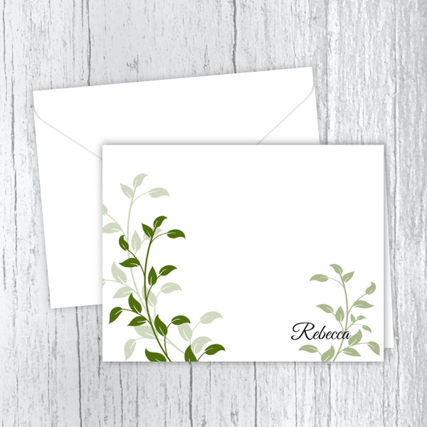Elegant Green Leaves Personalized Note Cards