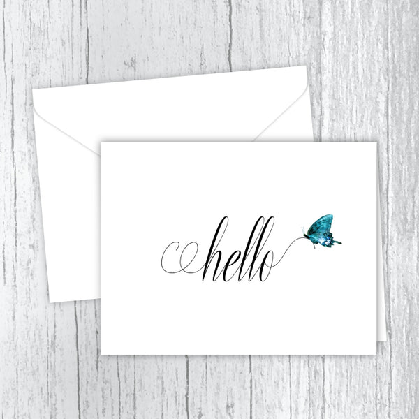 Hello Butterfly Printed Note Cards