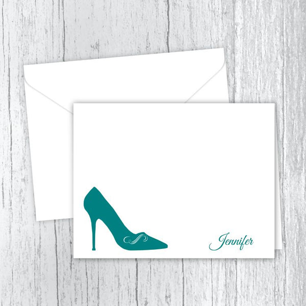 Ladies High Heel Shoe Personalized Note Cards
