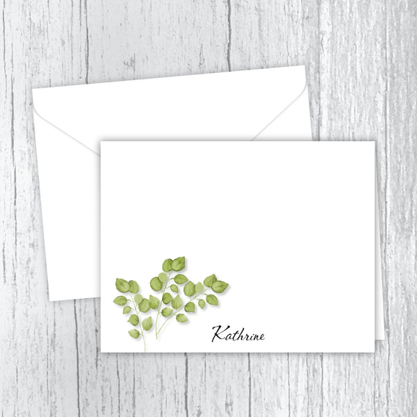Green Leaves Personalized Printed Note Cards