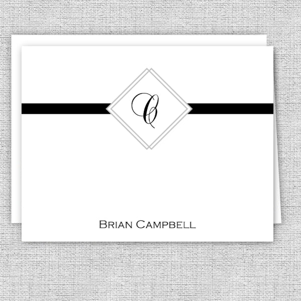 Men's Personalized Note Cards - Diamond Initial