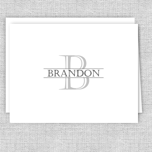 Men's Personalized Note Cards - Gray Initial with Name