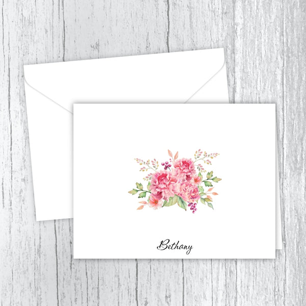 Pink Peonies Bouquet Personalized Note Cards