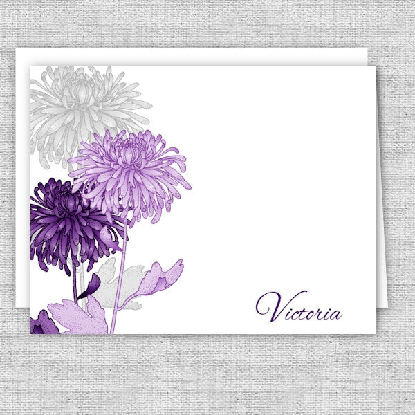 Purple & Gray Mums Personalized Note Cards