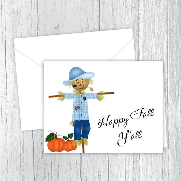 Scarecrow & Pumpkins Printed Note Cards