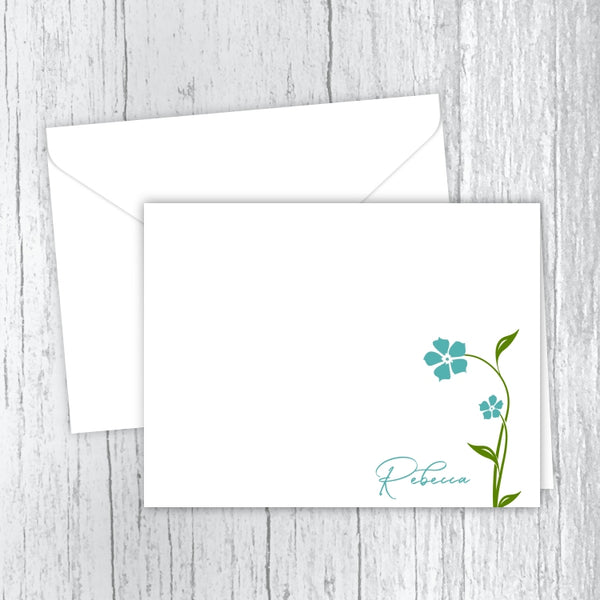 Aqua Flowers - Personalized Printed Note Cards