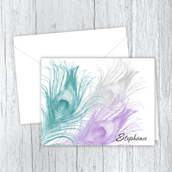 Personalized Printed Note Cards - 3 Peacock Feathers