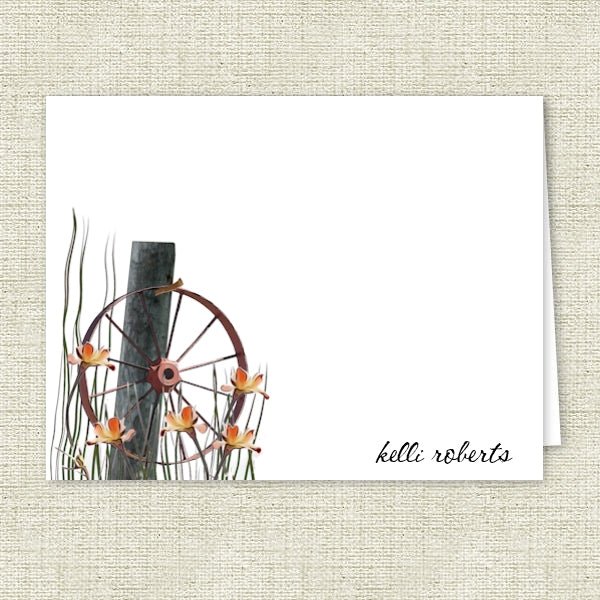 Country Wagon Wheel - Printed Personalized Note Cards