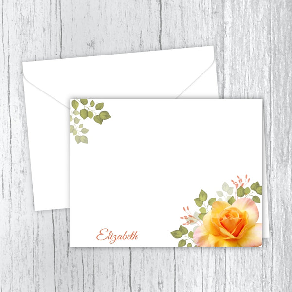 Yellow Rose Personalized Note Cards