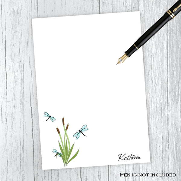 Dragonflies & Cattails Personalized Notepad