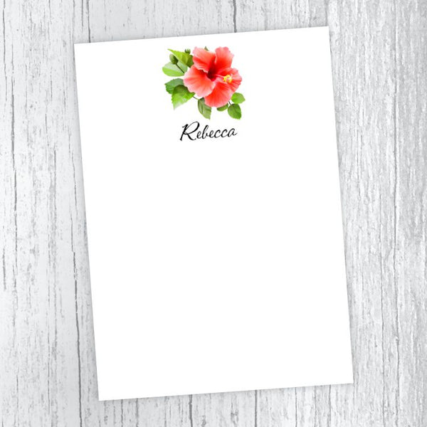 Red Hibiscus Personalized Notepad