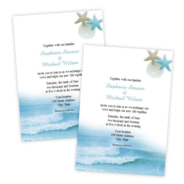 Ocean Waves Wedding Invitation Template A J S Prints