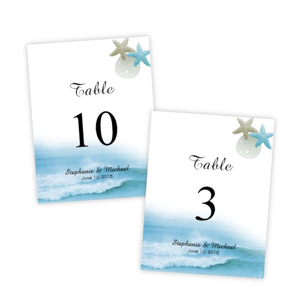 Ocean Waves Table Number Template