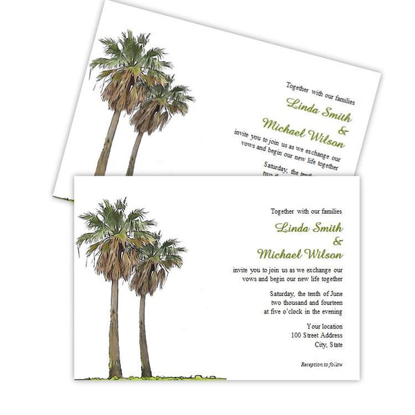 Tropical Palm Trees Wedding Invitation Template