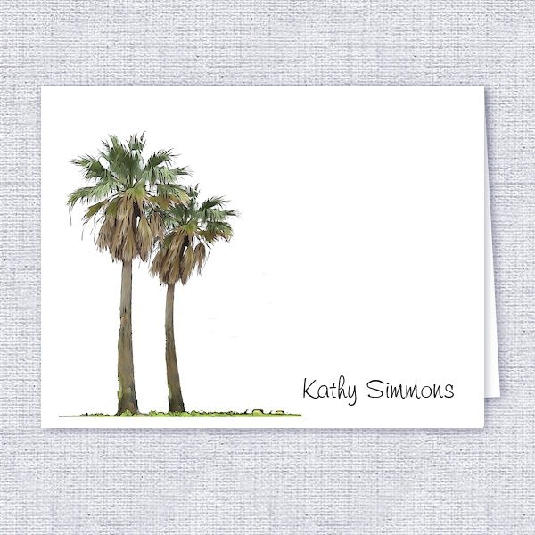 Tropical Palm Trees Personalized Note Cards