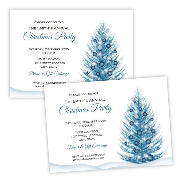 Blue Christmas Tree Invitation Template
