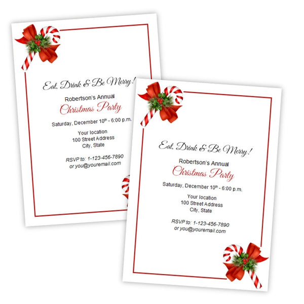 Corner Candy Canes Christmas Party Invitation