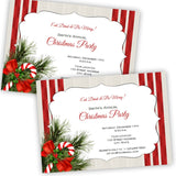 Candy Cane & Pine Christmas Party Invitation