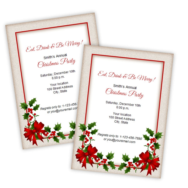 Holly Christmas Party Invitation