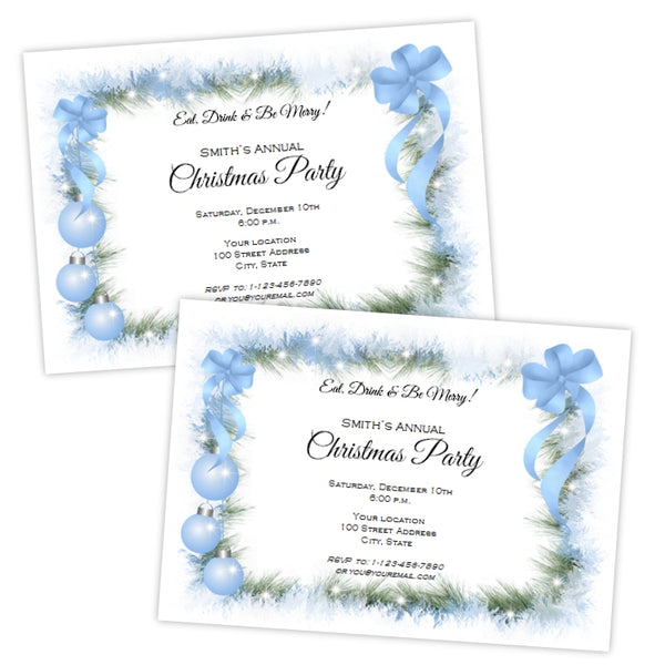 Frosty Blue Christmas Invitation Template