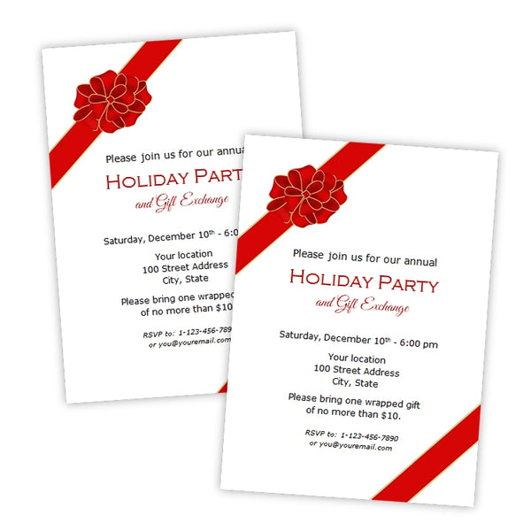 Gift Bow Christmas Party Invitation
