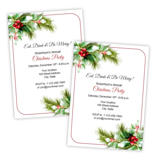 Holiday Holly Christmas Party Invitation