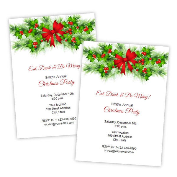 Holly Bough Christmas Party Invitation