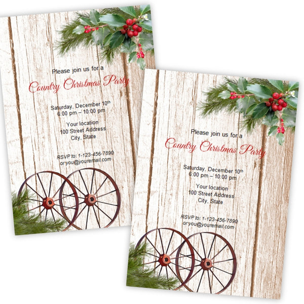 Country Christmas Wagon Wheels Party Invitation