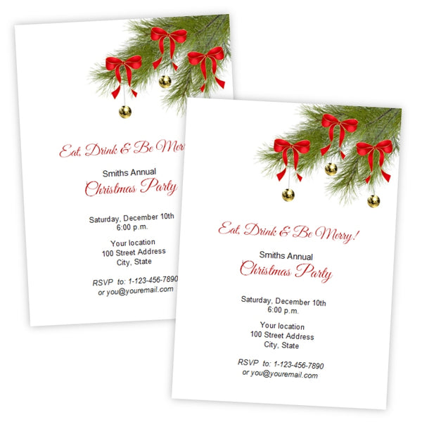 Pine Branches with Ornaments Christmas Party Invitation