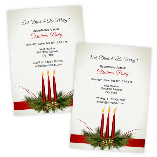 Red Candles Christmas Party Invitation