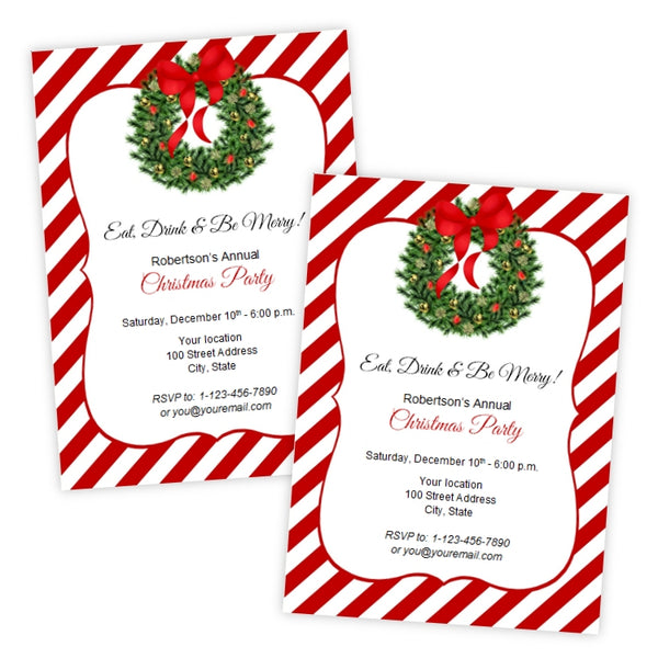 Holiday Wreath Christmas Party Invitation