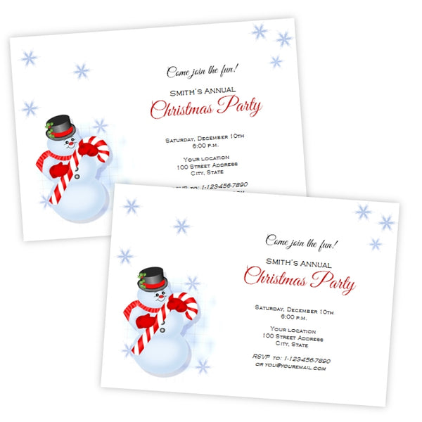 Snowman Christmas Invitation Template