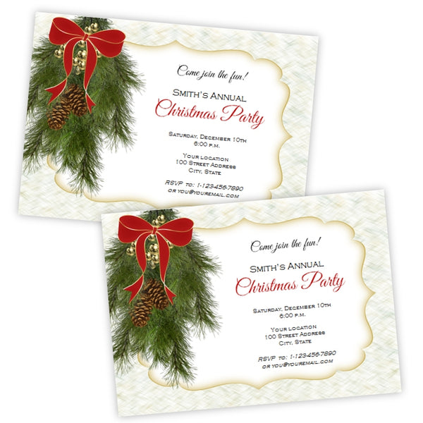 Christmas Party Invitation - Pine Swag