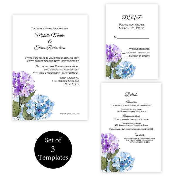 Purple & Blue Hydrangeas Wedding Suite