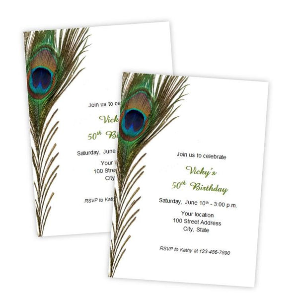 Peacock Feather Birthday Invitation Template